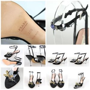 PRADA New Black Velvet Strappy Bow Sandal w/Jewels